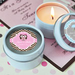 Personalized Baby Shower Round Travel Candle Tins