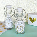 Personalized Metallic Foil Mini Glass Bottles - Baby