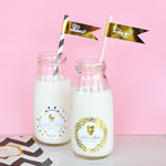 Personalized Metallic Foil Milk Bottles  - Baby