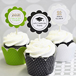 Personalized Graduation Cupcake Wrappers & Cupcake Toppers (Set of 24)