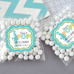 Personalized Going to Pop Blue Clear Candy Bags (Set of 24)