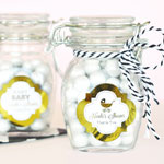 Personalized Metallic Foil Small Glass Jar with Swing Top Lid - Baby