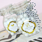 Personalized Small Metallic Foil Glass Jar with Swing Top Lid - Wedding