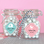 Personalized MOD Pattern Baby Shower Small Glass Jar with Swing Top Lid
