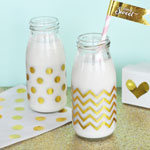 Chevron & Dots Gold Foil Milk Bottle Labels (Set of 12)