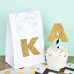 Gold Glitter Monogram Stickers (Set of 24)