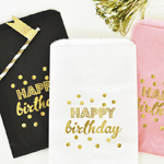 """Happy Birthday"" Gold Foil Candy Buffet Bags (set of 12)"