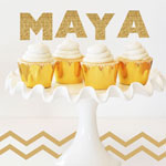 Personalized Gold Glitter Stickers (Set of 6)