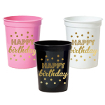 Gold HAPPY BIRTHDAY Party Cups (set of 25)