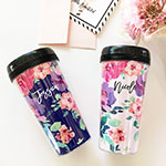 Personalized Floral Travel Coffee Mug
