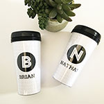 Personalized Black & White Travel Coffee Mug