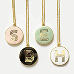 Gold Round Monogram Necklace