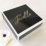 Personalized Black Gift Boxes with Gold Text