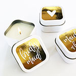 Bridal Party Square Candle Tins (set of 12)