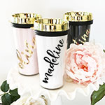 Personalized Gold Travel Tumbler - Gold Lid