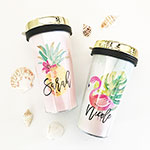 Personalized Tropical Beach Travel Tumbler - Gold Lid