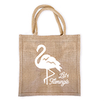 Personalized Flamingo Burlap Tote Bag