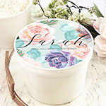 Personalized Round Gift Box - Succulent
