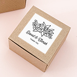Personalized Floral Silhouette Kraft Favor Boxes