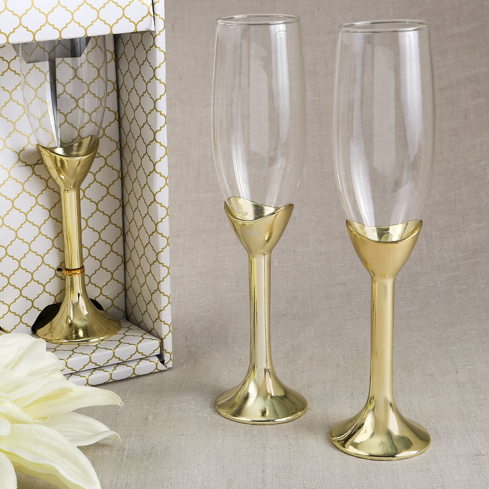 Champagne Flute with Gold Plated Poly Resin Stem - Famous ...