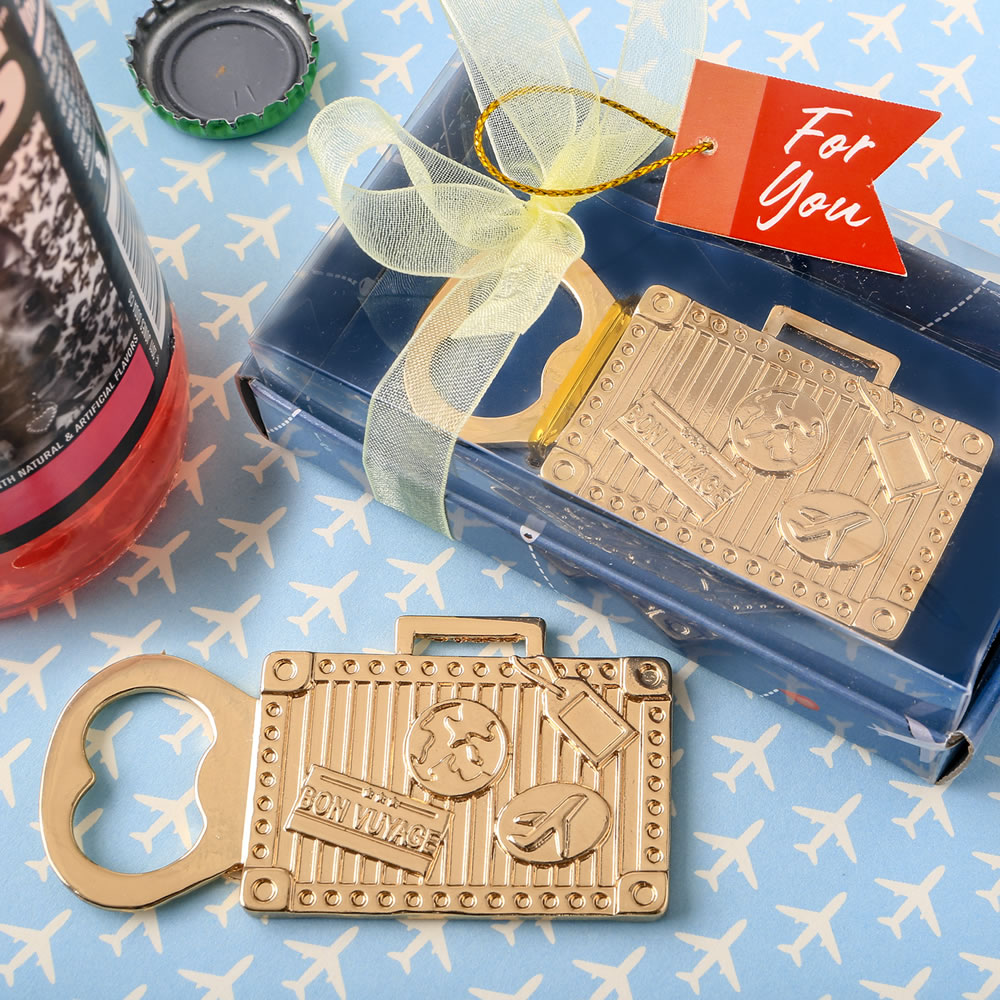 Vintage Child At Sunny Beach With Travel Suitcase Stock: Gold Suitcase Metal Bottle Opener