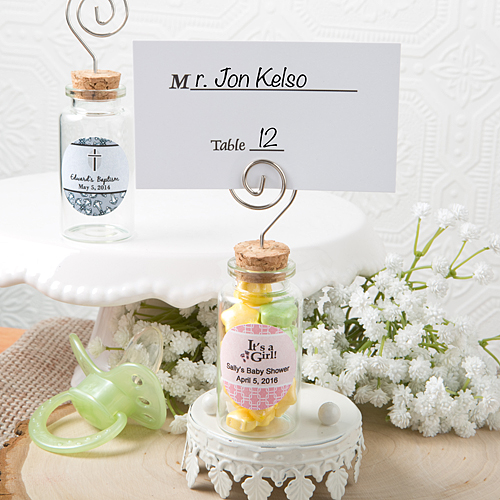 Personalized glass jar with place card holder baby shower