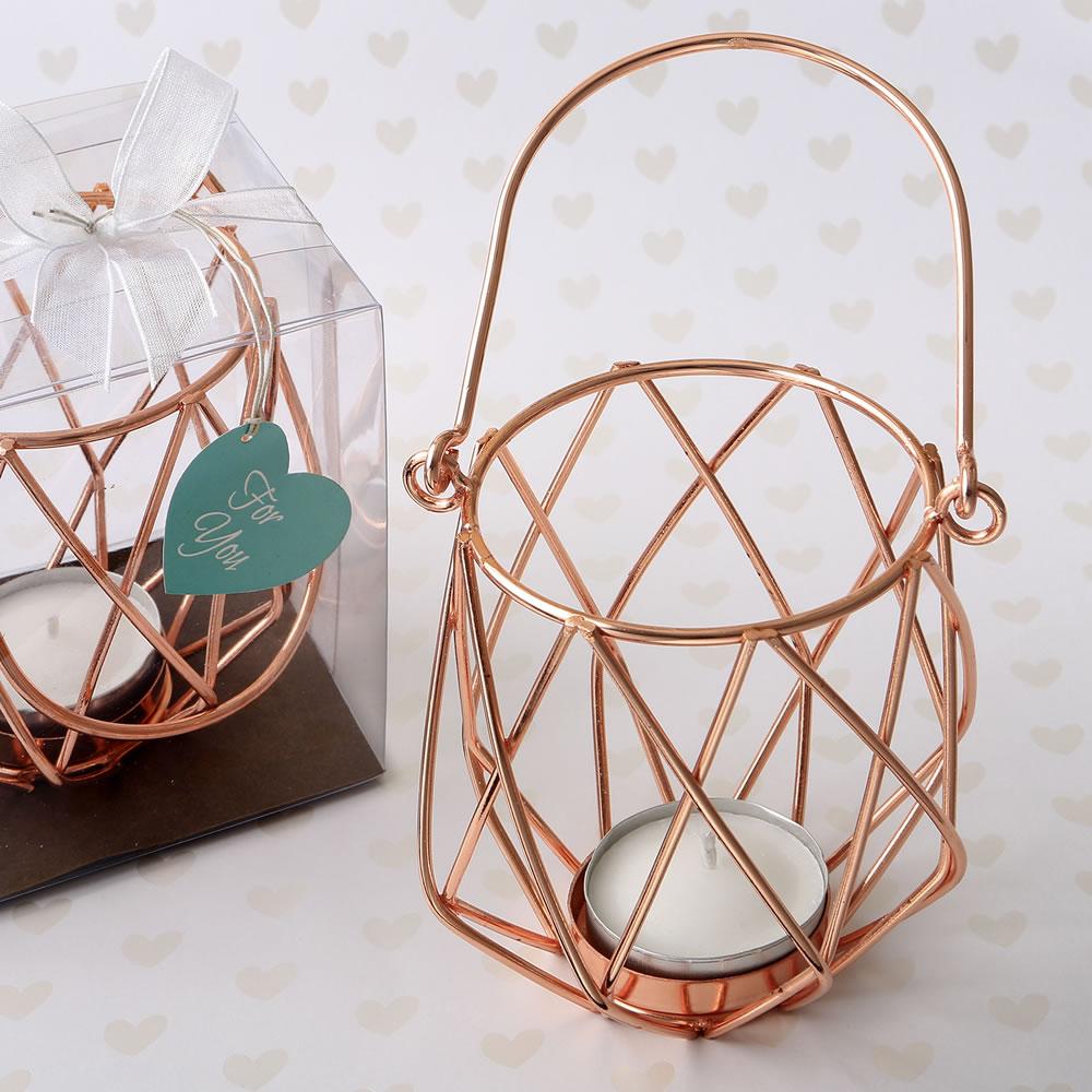 geometric design rose gold metal tealight candle holder famous favors. Black Bedroom Furniture Sets. Home Design Ideas