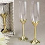 Champagne Flute with Gold Plated Poly Resin Stem