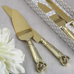 Two Piece Gold Double Heart Cake Knife Set
