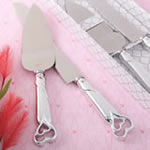Two Piece Heart Themed Cake Knife Set with Stainless Steel Blades and Shiny Silver Handles