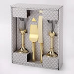 Gold 4 Piece Toasting Glass and Engraved Cake Server Set
