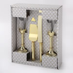 Gold 4 Piece Toasting Glass and Cake Server Set