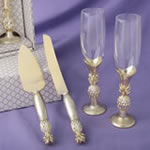 Pineapple Themed Gold Toasting Flutes and Cake Server Accessory Set