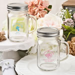 Screen Printed Personalized 12 oz Glass Mason Jar Baby Shower Favors