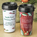 Personalized Double Wall Insulated Coffee Cup - Holiday Design