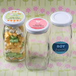Personalized Expressions Medium Size Glass Vintage Milk Bottle - Baby Shower Favors