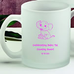 Personalized 11 oz Frosted Glass Coffee Mug Baby Shower Favors