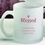 Personalized 11 oz Frosted Glass Coffee Mug Baptism Favors