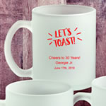 Personalized 11 oz Frosted Glass Coffee Mug Birthday Party Favors