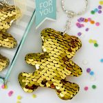 Gold / Silver Sequin Teddy Bear Key Chain