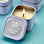 Personalized Metallic Travel Candle Tin Baby Shower Favors