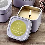 Personalized Metallic Scented Travel Candle Tin Party Favors