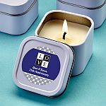 Personalized White Scented Travel Candle Tin Anniversary Party Favors