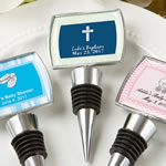 Personalized Epoxy Dome Chrome Metal Finish Bottle Stopper Baby Shower Favors