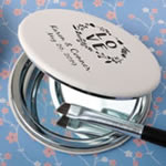 Personalized Screen Printed White Leatherette Hinged Mirror Wedding Favors
