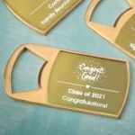 Personalized Metallics Epoxy Dome Gold Metal Bottle Opener Party Favors