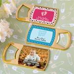 Personalized Epoxy Dome Gold Metal Bottle Opener Baby Shower Favors