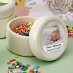 Personalized Ceramic Mint Jar with Epoxy Dome Baby Shower Favors