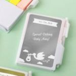 Personalized Metallics White Note Book with Pen and Sticky Tabs Baby Shower Favors