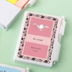 Personalized White Note Book with Pen and Color Sticky Tabs Baby Shower Favors